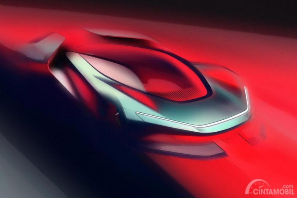 Gambar teaser PF0 Automobili Pininfarina dari salah satu sudut bodi