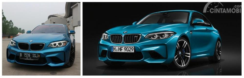 Perbedaan tampilan depan BMW M2 Coupé keluaran lama dengan BMW M2 Coupé 2018