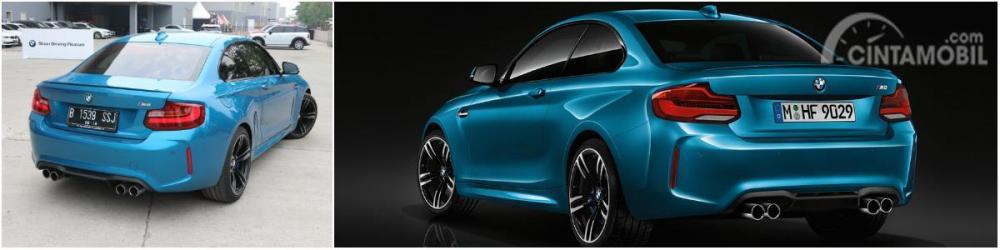 Perbedaan tampilan belakang BMW M2 Coupé keluaran lama dengan BMW M2 Coupé 2018