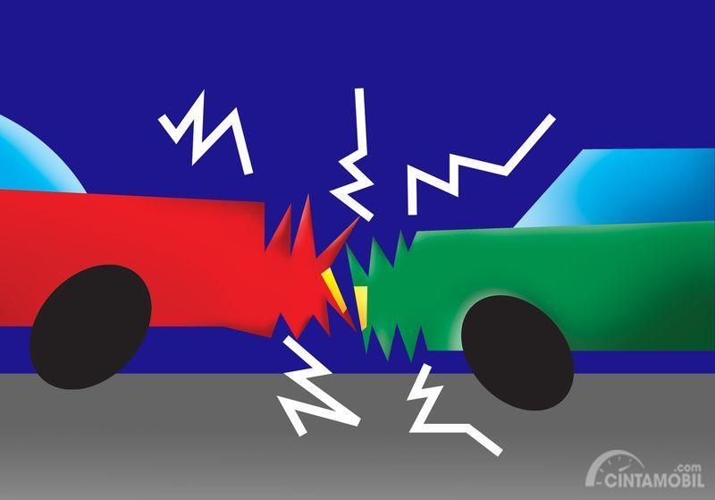 Gambar yang menunjukan ilustrasi kecelakaan