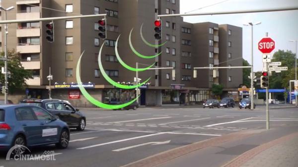 Gambar yang menunjukan teknologi berbicara dengan lampu merah