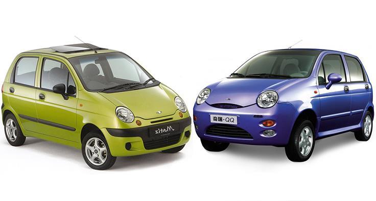 Chevrolet Spark dan Cherry QQ mengusung konsep bodi serupa yang membuktikan bahwa China mencoba meniru desain ikonik dari Spark