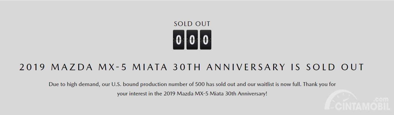Screenshot Status Mazda MX-5 Miata 30Th Anniversary Edition - SOLD OUT