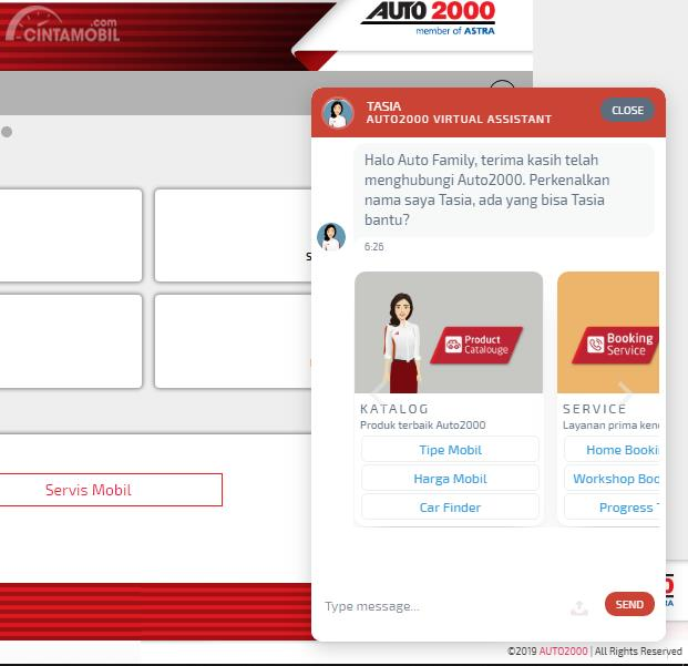 Interface Tasia di website Auto2000