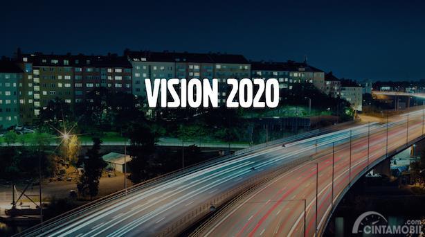 ilustrasi Vision 2020 Volvo dengan huruf berwarna putih