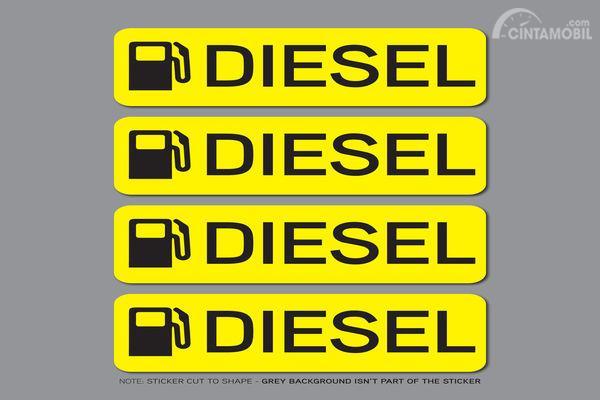 Foto stiker diesel warna kuning