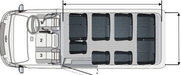 Kursi KIA Travello 2006 mampu menampung hingga 12 orang