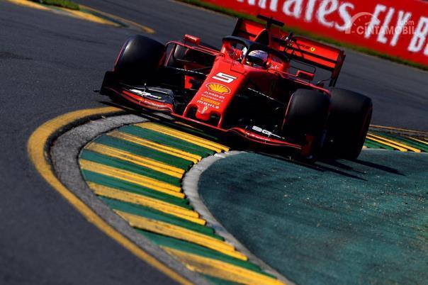 Sebastian Vettel mengendarai SF-90 di Sirkuit Albert Park, Australia