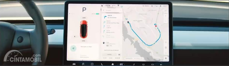 sistem infotainment Tesla Model Y 2019 berlayar putih