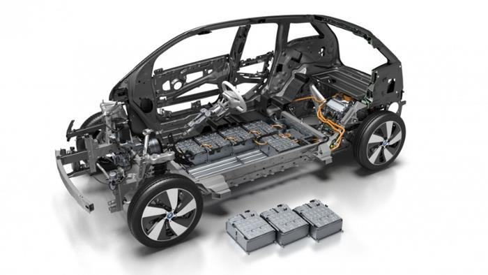 Gambar menunjukkan Baterai dan mesin listrik BMW i3 2019