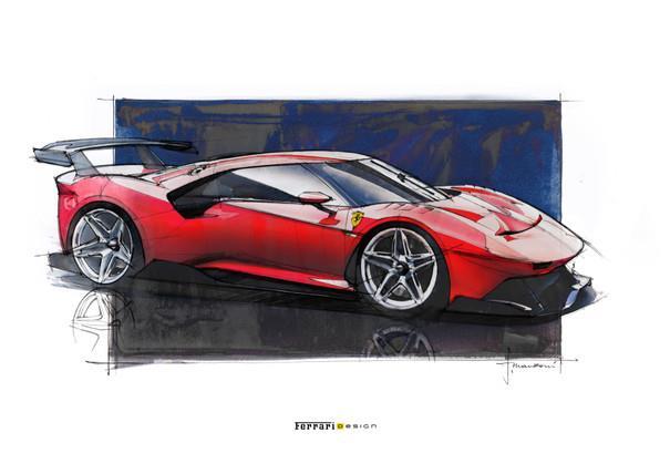 Gambar menunjukkan Skestsa final Ferrari P80/C 2019 berwarna merah dilihat dari sisi depan