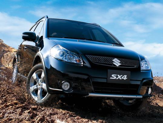 Gambar menunjukkan Suzuki SX4 X-Over warna biru difoto dari sudut rendah