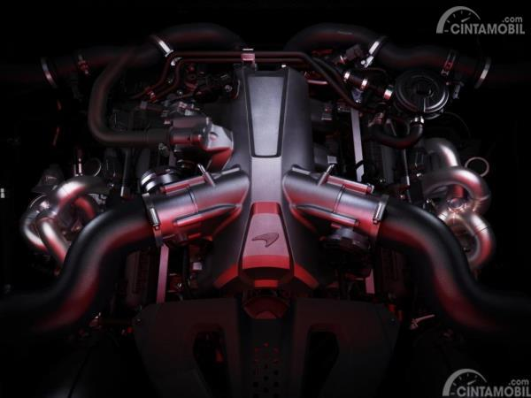 Gambar menunjukkan desain bagian Mesin McLaren 720s Spider 2019 yaitu mesin M840T