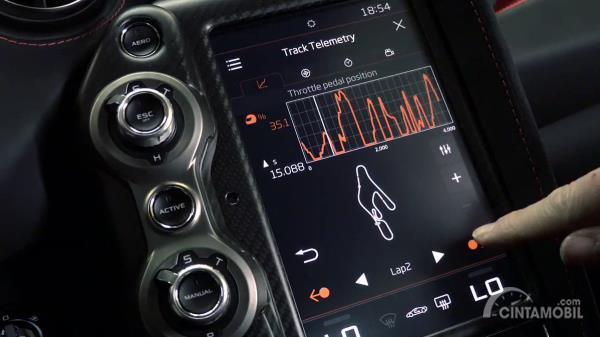 Gambar menunjukkan Tampilan McLaren Track Telemetry