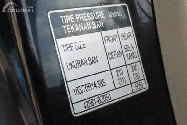 Contoh informasi tekanan angin ban