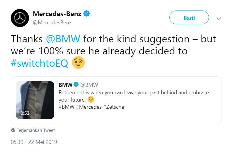 Salah satu cuitan Mercedes Benz dalam akun Twitter-nya