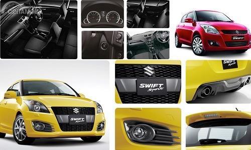 Gambar menunjukkan Tampak Suzuki Swift GX vs Suzuki Swift Sport