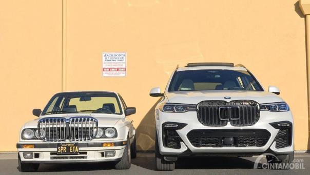 Tampilan depan BMW E30 dan BMW X7 setelah bertukar kidney grille