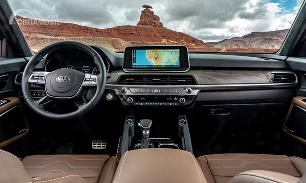 Dashboard KIA Telluride 2020 hadir dengan tema klasik Wooden Panel sehingga terlihat mewah dan klasik