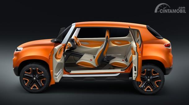 Interior Suzuki S-Presso dikemas cukup futuristik dengan perpaduan dua warna yakni oranye dan putih