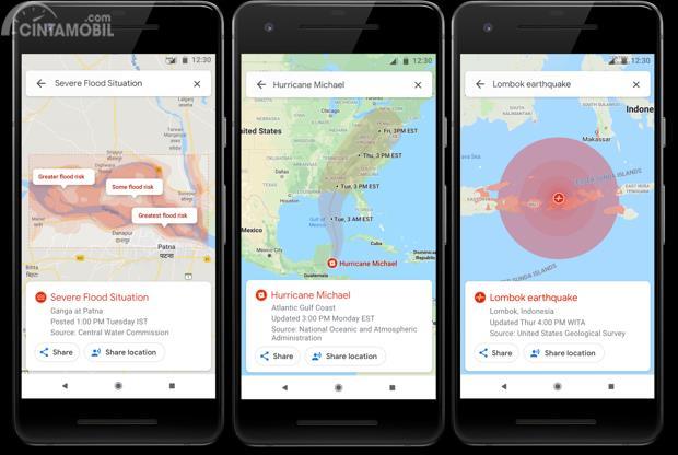 informasi tentang banjir, badai dan gempa di Google Maps