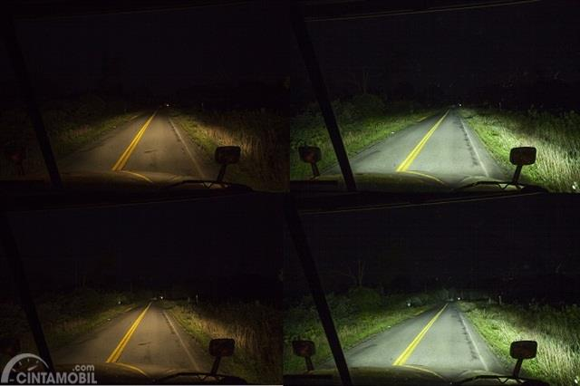 perbandingan lampu LED dan halogen di malam hari