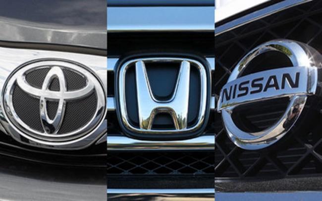 Logo mobil Jepang seperti Toyota, Honda dan Nissan