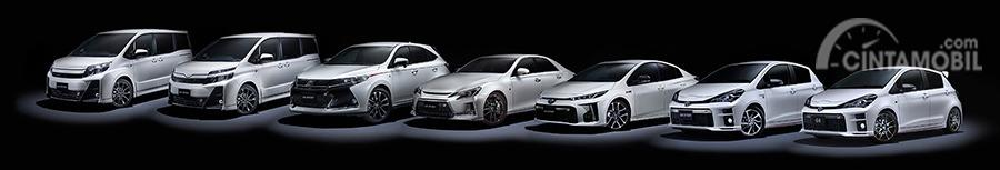 Gambar menunjukkan beberapa Mobil Toyota Gazoo Racing Line Up