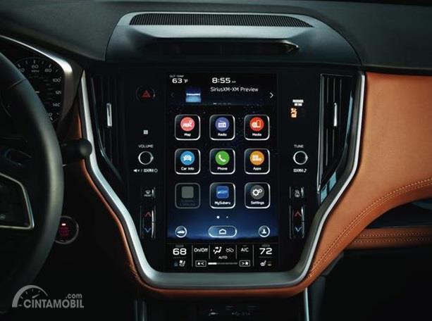 Fitur Hiburan Subaru Legacy 2020 menghadirkan panel Head Unit sangat besar mirip Tablet
