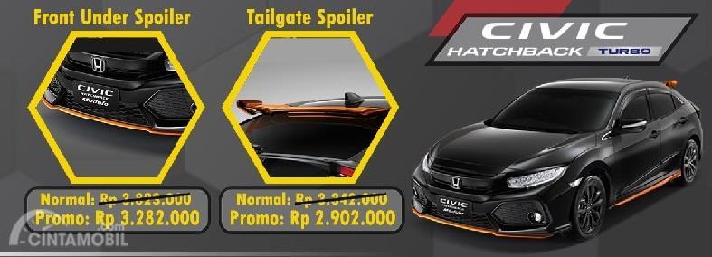 Aksesoris Honda Civic ditawarkan dua komponen saja yakni Tailgate Spoiler dan Front Under Spoiler
