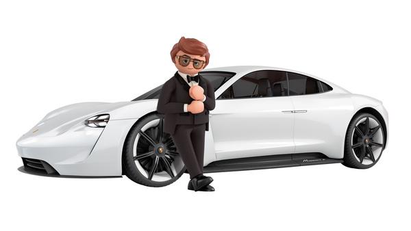 Foto Porsche Mission E sebagai kendaraan agen rahasia di film Playmobil: The Movie