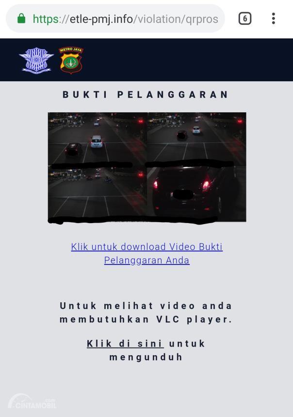 Bukti surat tilang elektronik di web e-TLE