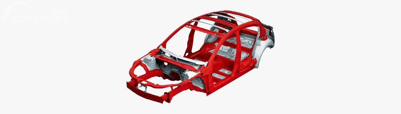 Gambar menunjukkan rangka Skyactiv pada mobil Mazda 2 2019