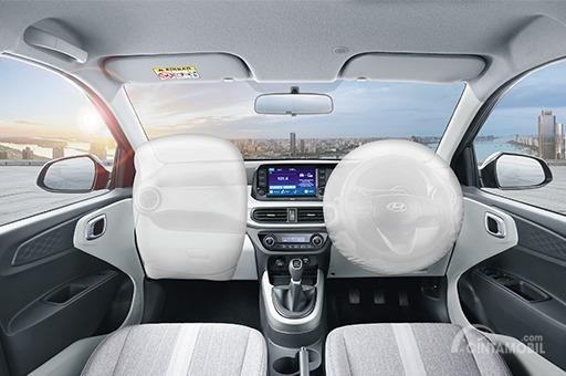Gambar menunjukkan fitur keselamatan pada mobil Hyundai Grand i10 NIOS 2019
