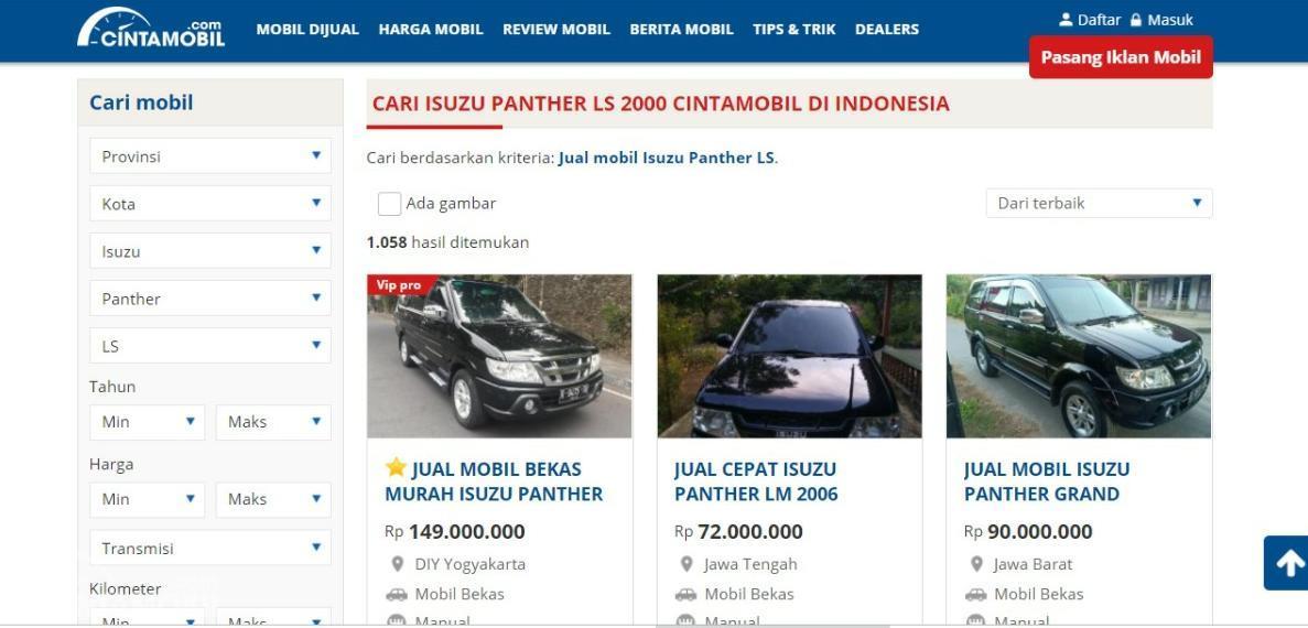 Gambar menunjukkan daftar mobil Isuzu Panther LS 2000 dijual di situs Cintamobil.com
