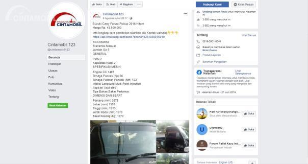 Akun Facebook palsu Cintamobil123