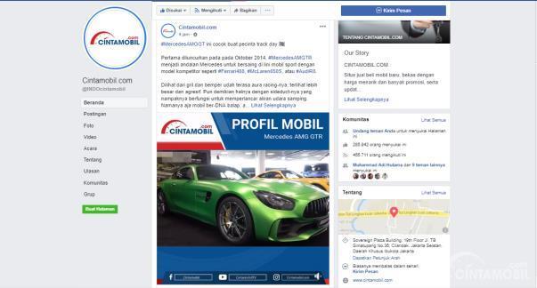 Halaman Facebook Cintamobil.com