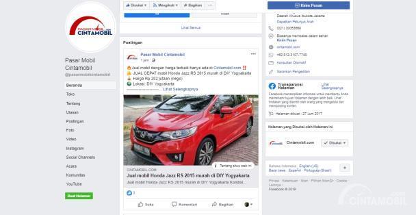 Halaman Facebook Pasar Mobil Cintamobil.com