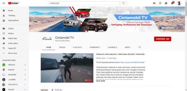 Kanal YouTube Cintamobil TV