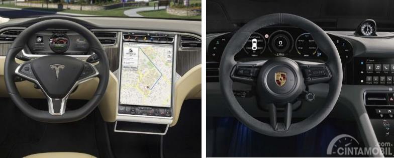 bagian kabin dan kemudi Porsche Taycan dan Tesla Model S