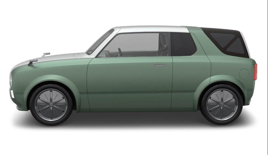 tampilan samping Suzuki Waku SPO 2019 berwarna hijau dan putih