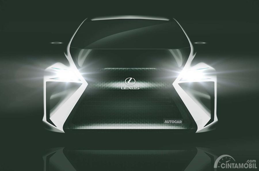 tampilan konsep mobil listrik Lexus berwarna putih