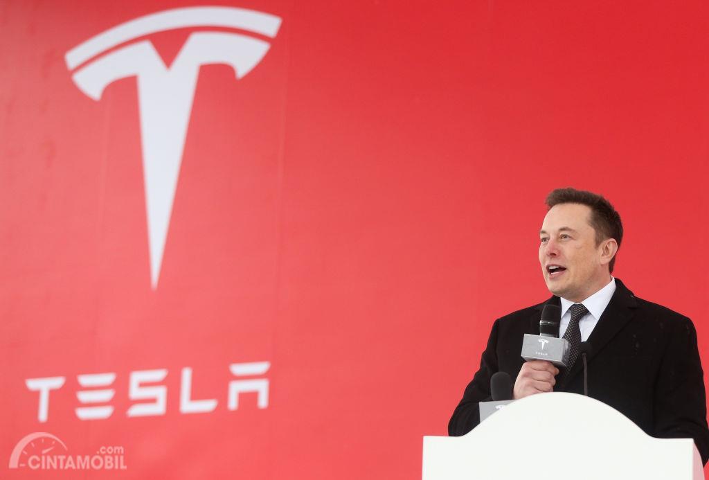 Elon Musk dengan logo Tesla di belakang
