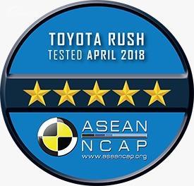 Gambar menunjukkan Badge bintang 5 ASEAN NCAP untuk mobil Toyota Rush