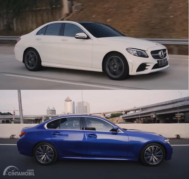 Foto Mercedes Benz C300 AMG Line vs BMW 330i M Sport dari arah samping