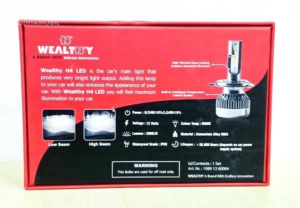 box spesifikasi lampu LED dari Wealthy