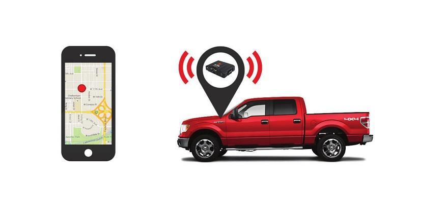 GPS Pelacak dan Mobil berwarna merah