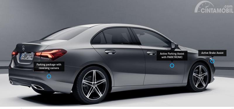 Gambar menujukan fitur keselamatan Mercedes-Benz A200 Sedan 2019