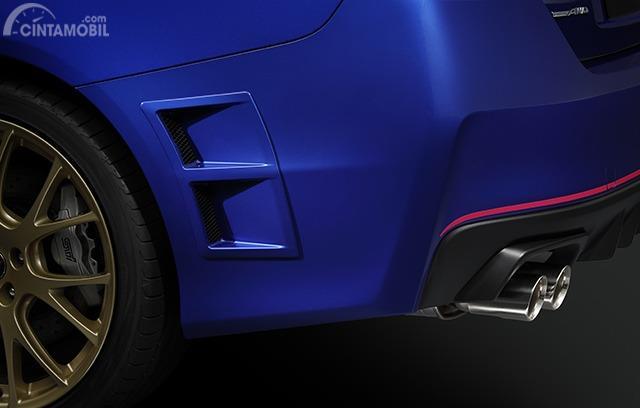Gambar menunjukkan sirip bumper belakang Subaru WRX STI EJ20 Final Edition 2019
