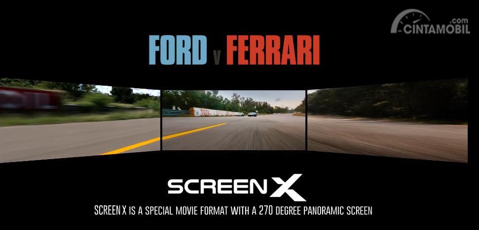 Gambar menunjukkan ScreenX Ford v Ferrari berwarna hitam